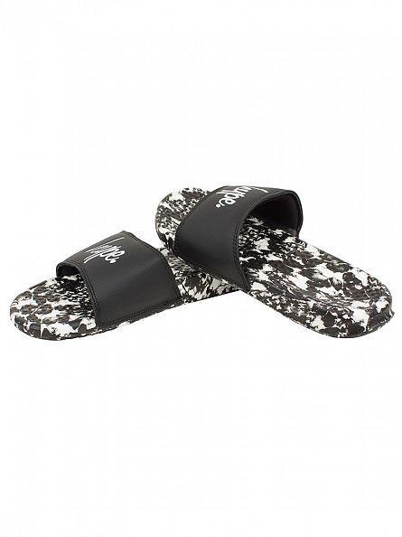 Hype Black/White Monotone Slider Logo Flip Flops