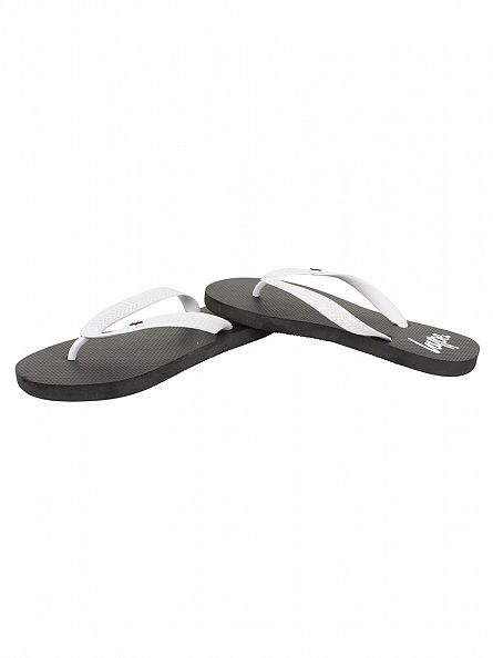 Hype Black/White Core Logo Flip Flops