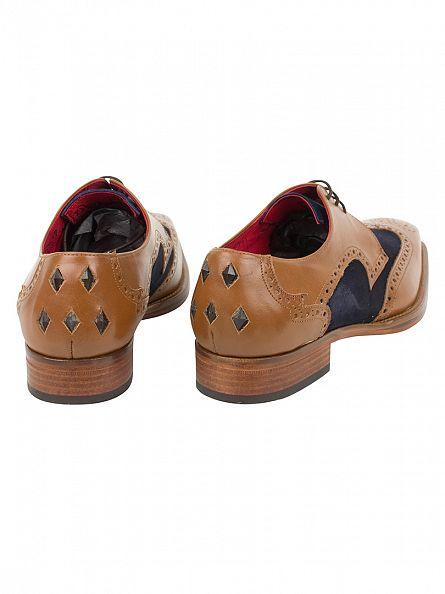 Jeffery West Tan/Ante Dark Blue Capon Alfa Shoes