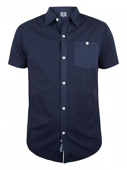 Bellfield Navy Shortsleeved Overdyed Shirt