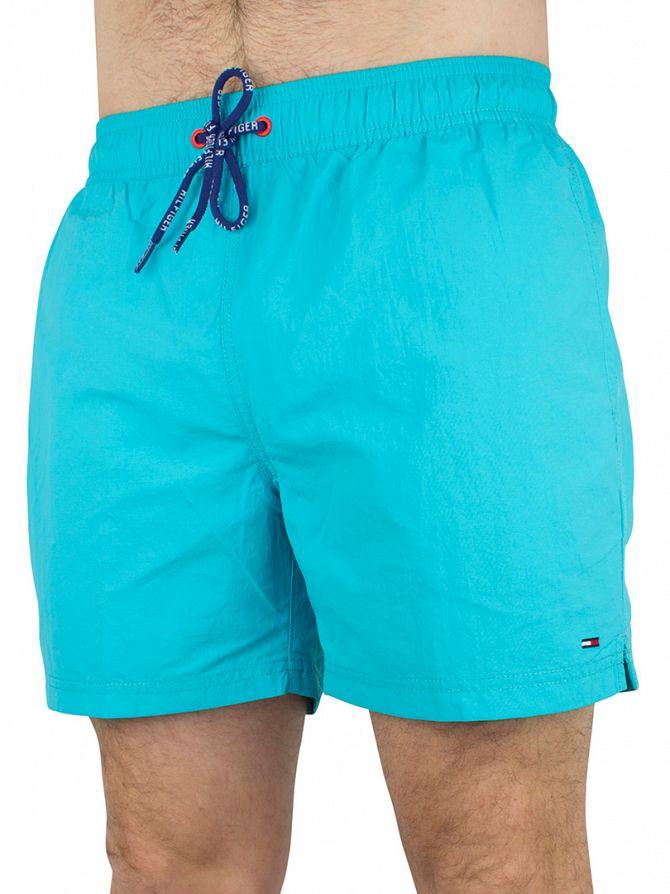 Hilfiger Denim Light Blue Solid Logo Swim Shorts