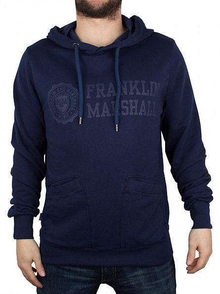 Franklin & Marshall Original Blue Logo & Text Hoodie