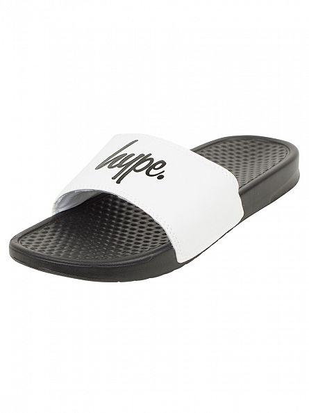 Hype Black/White/Black Core Slider Logo Flip Flops