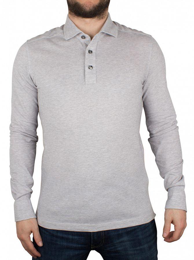 Gant Light Grey Melange Oxford Pique Longsleeved Rugger Logo Polo Shirt