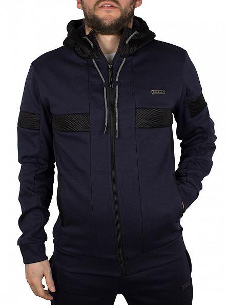 Foray Navy Marl Flash Hood Mesh Logo Zip Jacket