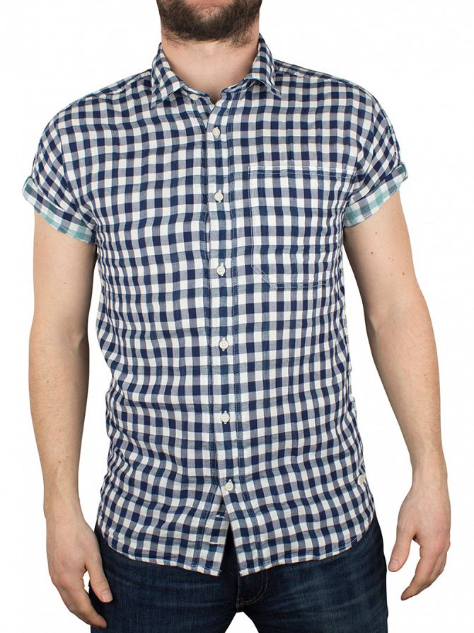 Scotch & Soda White/Blue Shortsleeved Weave Checked Shirt