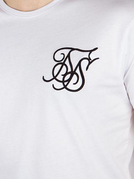 Sik Silk White Logo Curved Hem T-Shirt