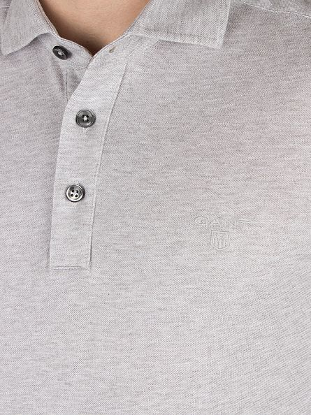 Gant Light Grey Melange Oxford Pique Longsleeved Rugger Logo Polo Shirt