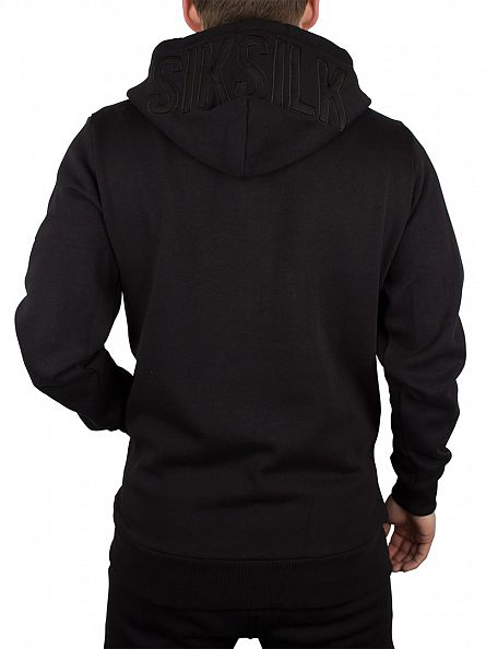 Sik Silk Black Long Zip Logo Hoodie
