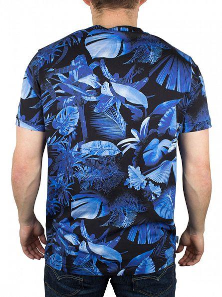 Franklin & Marshall Blue Forest Floral Sublimation Logo T-Shirt