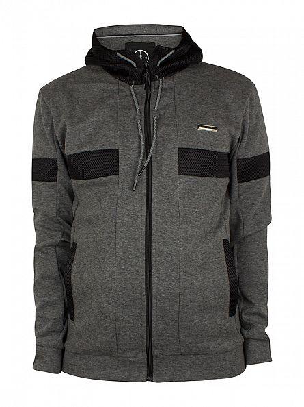 Foray Charcoal Flash Hood Mesh Logo Zip Jacket
