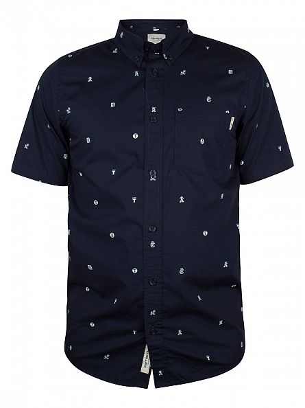 Carhartt WIP Navy/White Drop Cap All Over Print Shortsleeved Shirt