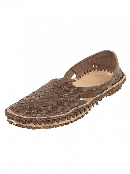 Base London Brown Aztec Weave Slip-Ons