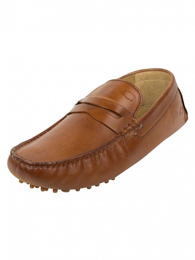 Base London Tan Morgan Washed Loafers
