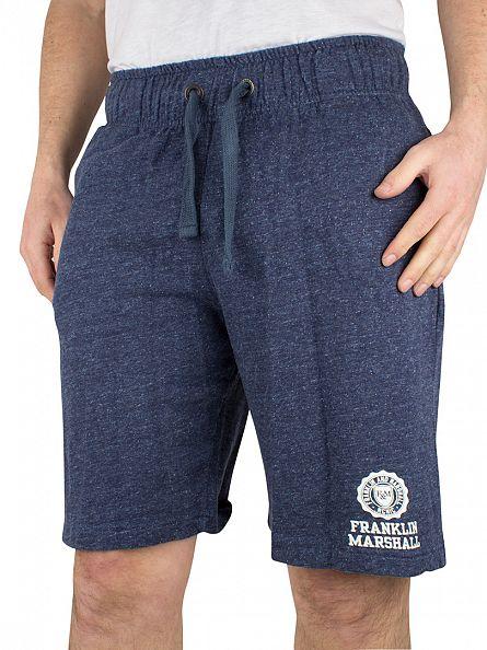 Franklin & Marshall Blue Melange Logo Marled Sweat Shorts