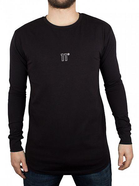 11 Degrees Black Longsleeved Crest Logo T-Shirt