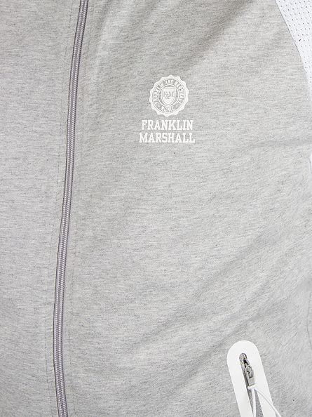 Franklin & Marshall Grey Melange Raglan Logo Marled Zip Track Top