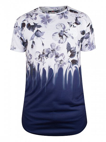 Sik Silk White/Navy Floral Rush Fade T-Shirt