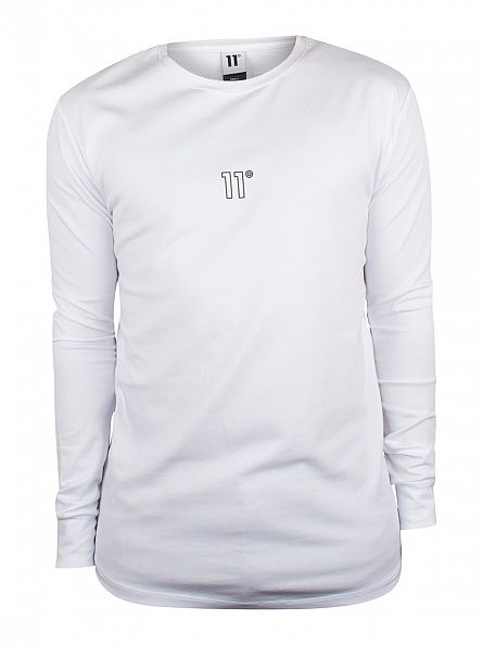 11 Degrees White Longsleeved Crest Logo T-Shirt