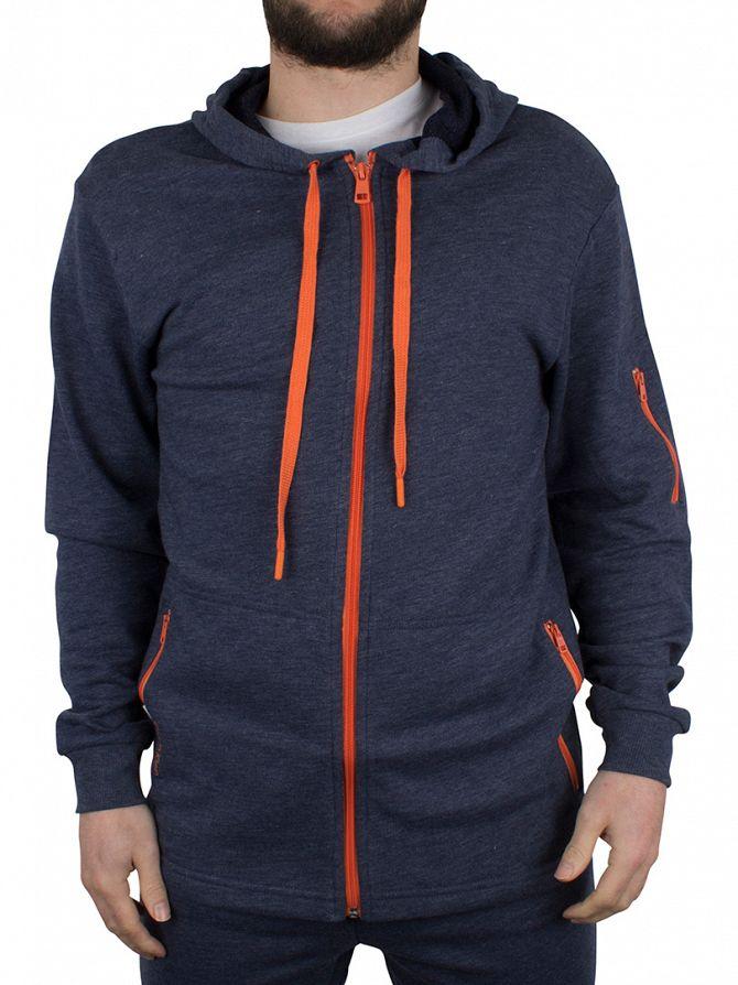 Calvin Klein Blue Shadow Marled Hooded Zip Loungewear Jacket