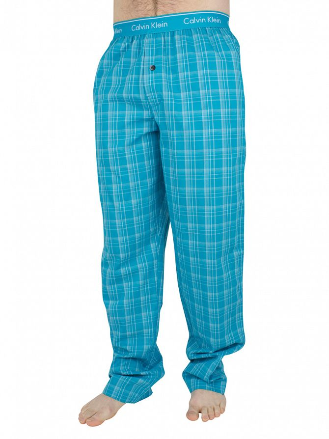 Calvin Klein Caneel Bay Blue Forest Plaid Logo Waistband Pyjama Bottoms