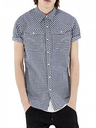G-Star Milk/Hudson Blue Check Slim Fit Arc 3D Shortsleeved Checked Shirt