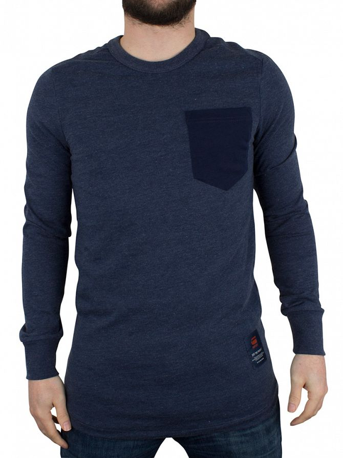 G-Star Sapphire Blue Slim Fit Twanim Marled Pocket Sweatshirt
