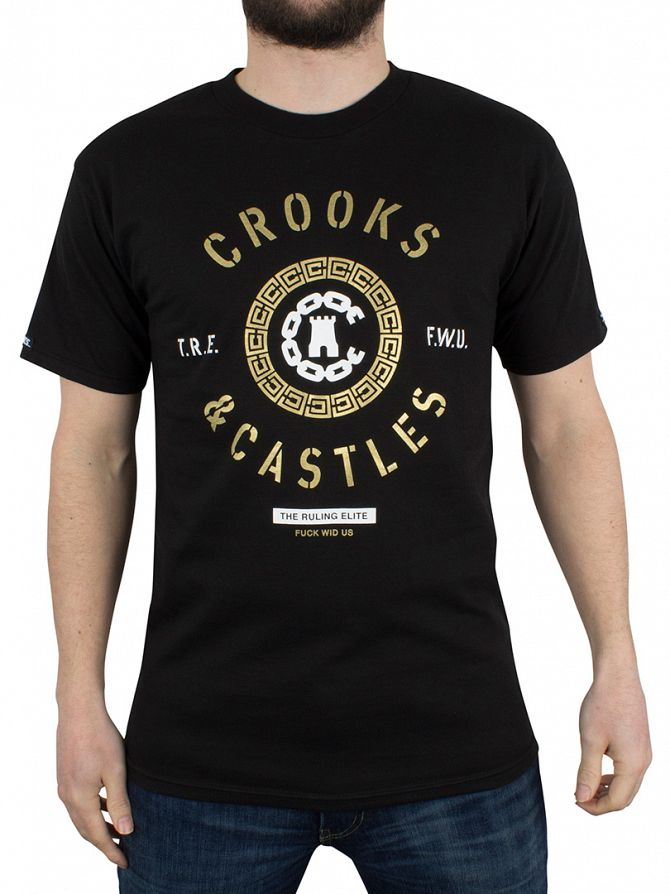 Crooks & Castles Black Crooks Seal Ruling Elite Graphic T-Shirt