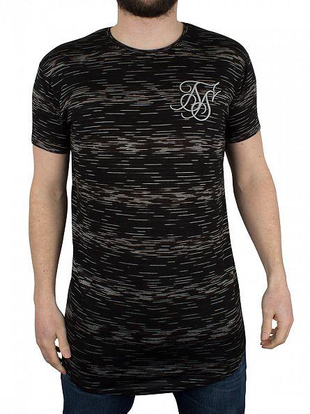 Sik Silk Black Digital Curved Hem T-Shirt
