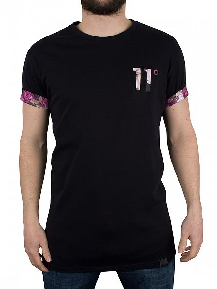 11 Degrees Black Floral Logo T-Shirt