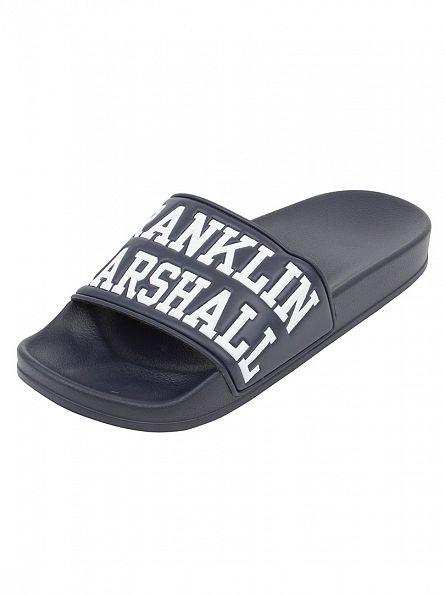 Franklin & Marshall Navy Large Logo Flip Flops