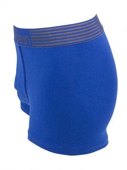 Calvin Klein Aztec Blue Iron Strength Cotton Logo Waistband Trunks