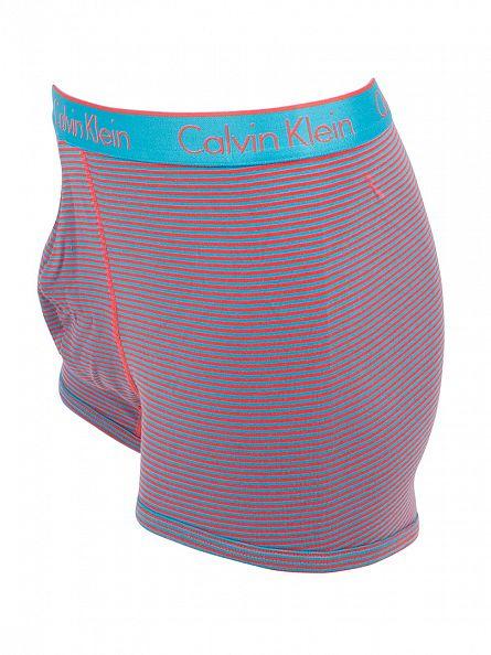 Calvin Klein Caneel Bay Blue/Red CK One Mark Stripe Trunks