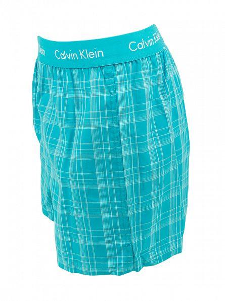 Calvin Klein Caneel Bay Blue Forest Plaid Slim Fit Boxer Trunks