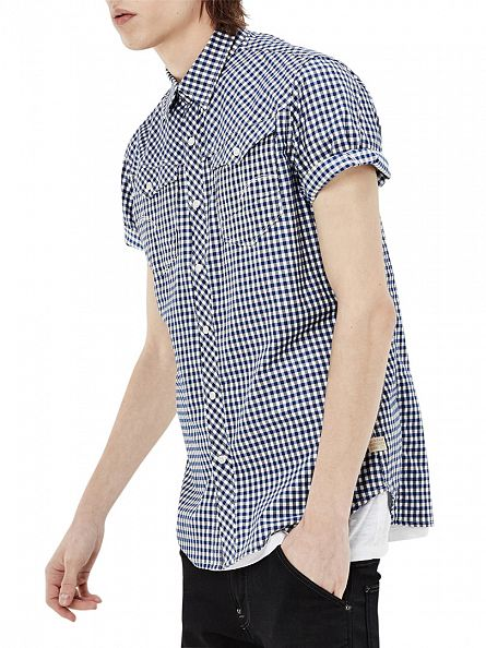 G-Star Milk/Hudson Blue Check Slim Fit Arc 3D Shortsleeved Checked Shirt