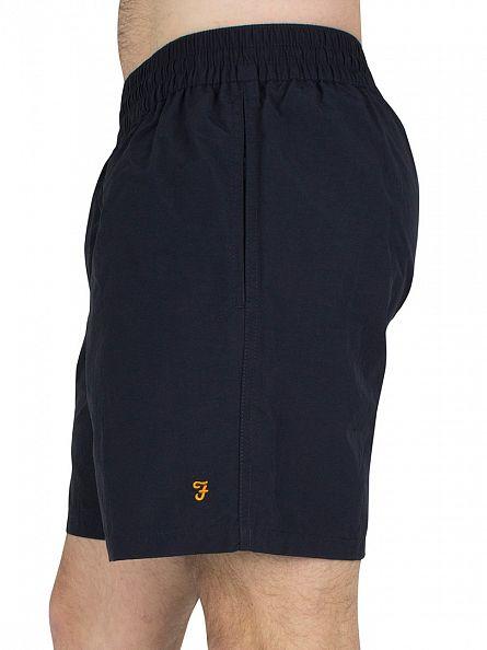 Farah Vintage True Navy Monroe Paper Touch Logo Swim Shorts