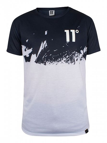11 Degrees Navy/White Half Sub Tee Graphic T-Shirt