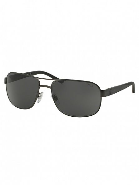 Polo Ralph Lauren Matte Dark Gunmetal Metal Man Sunglasses