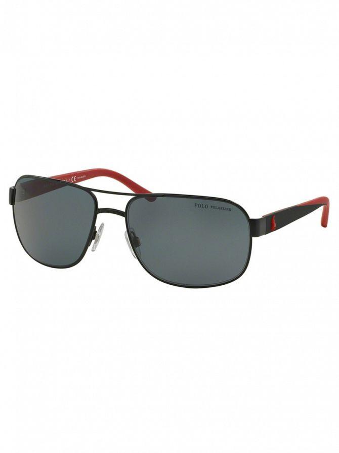 Polo Ralph Lauren Matte Black/Red Metal Man Polarized Sunglasses