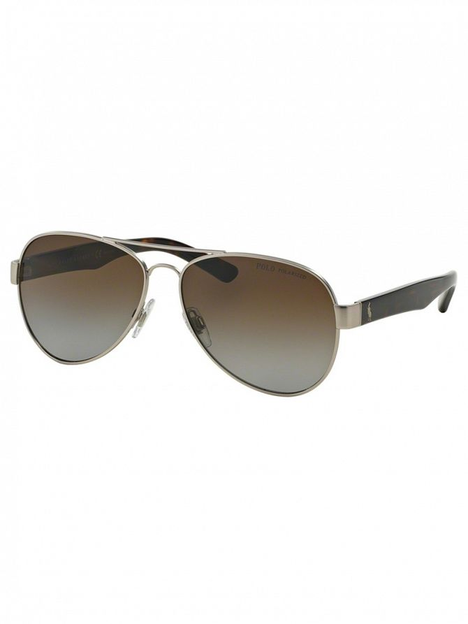 Polo Ralph Lauren Matte Silver Metal Man Polarized Sunglasses