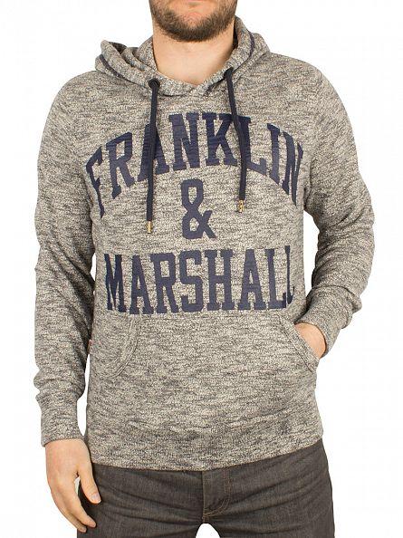 Franklin & Marshall Navy Melange Arch Logo Melange Hoodie