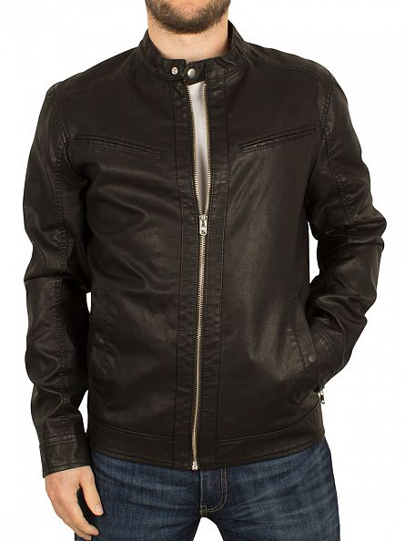 Jack & Jones Black Vendelbo Biker Jacket