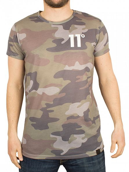 11 Degrees Green Woodland Camo All Over Sub T-Shirt
