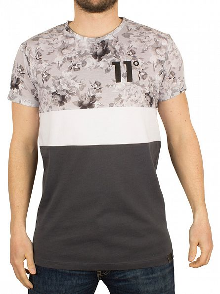 11 Degrees Grey Scale Triple Panel Vintage Floral T-Shirt