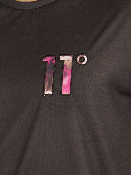 11 Degrees Black Floral Hem Sub Logo T-Shirt