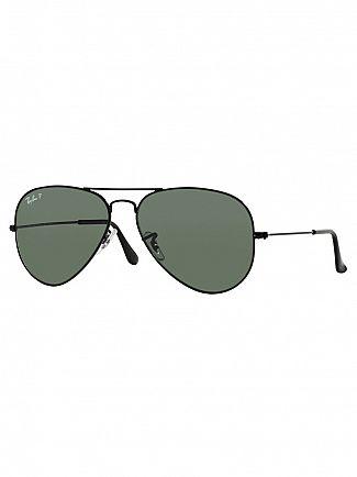 Ray-Ban Black Aviator Polarized Sunglasses RB3025
