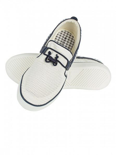 Lacoste White/Navy Gazon Deck 216 1 Cam Trainers