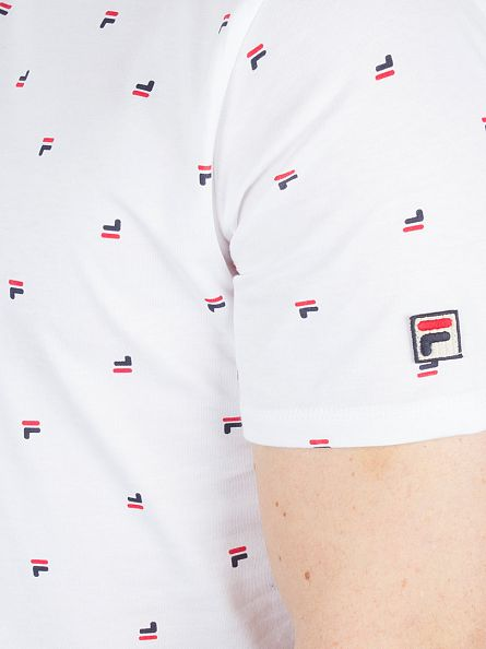 Fila Vintage White/Peacoat/Chinese Red Buffe All Over Logo T-Shirt