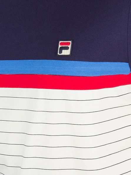 Fila Vintage Gardenia/Peacoat/Chinese Red Comber Stripes Logo T-Shirt
