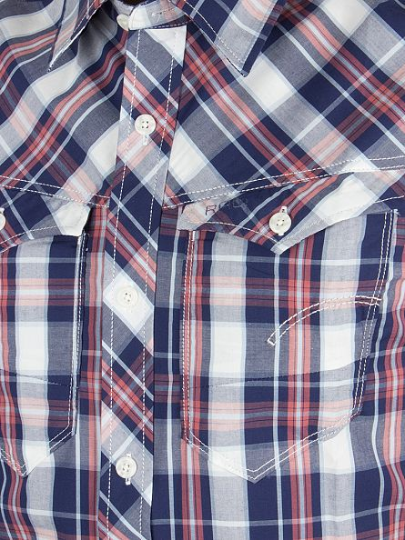 G-Star Milk/Swedish Blue Check Arc 3D Shortsleeved Slim Fit Checked Shirt